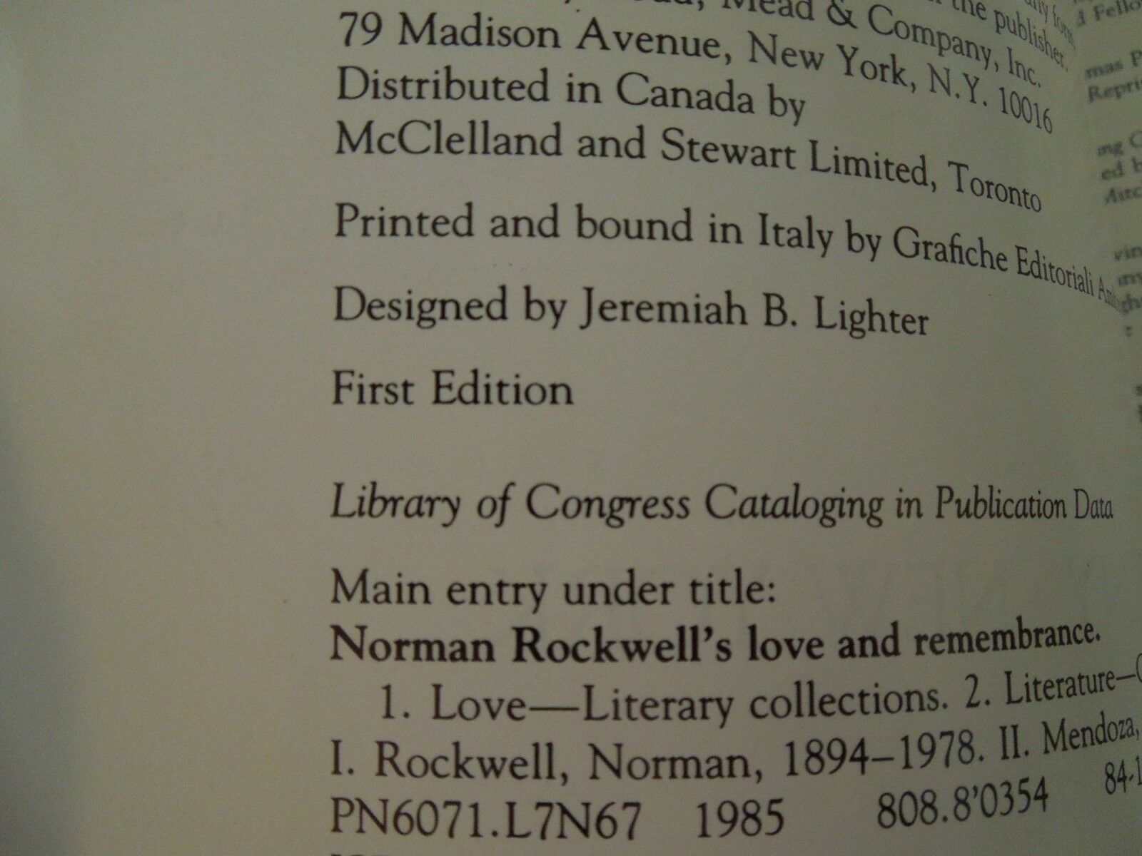 Norman Rockwell s Love and Remembrance 1985 Hardcover