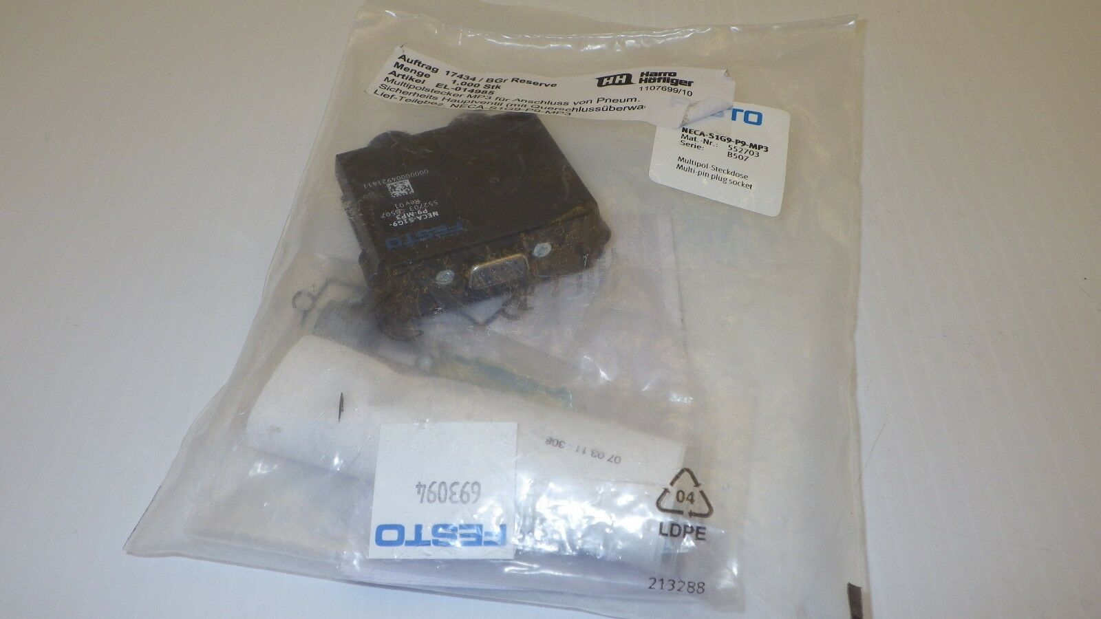 Festo Neca-s1g9-p9-mp3 Series B507 Multi-pin Plug Socket | eBay