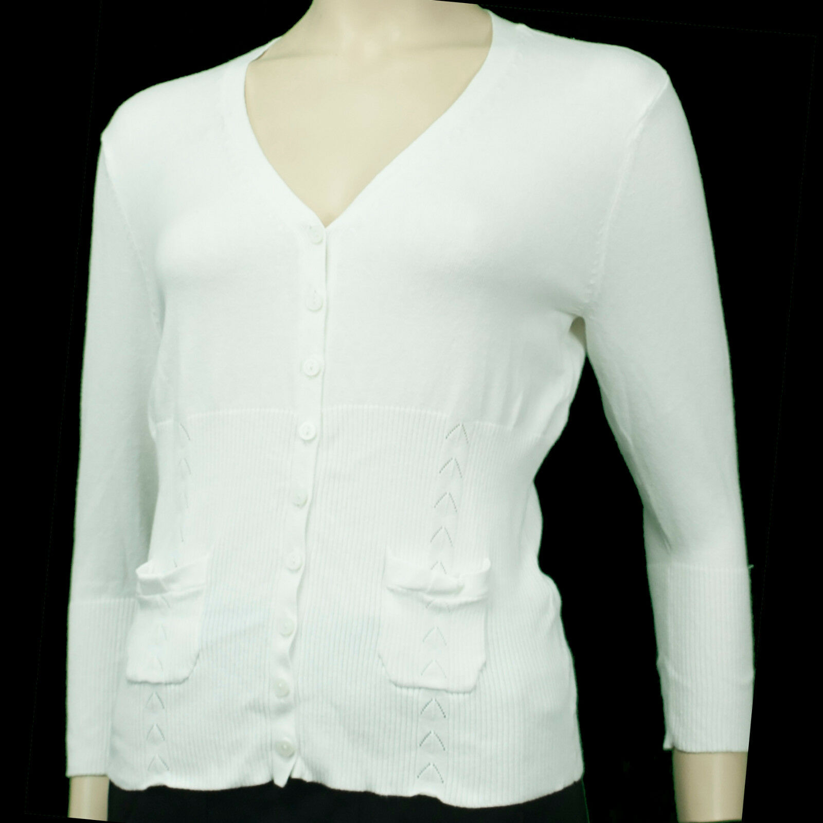 Field Gear Ladies Petite White Vee Neckline Button-up Cardigan ...