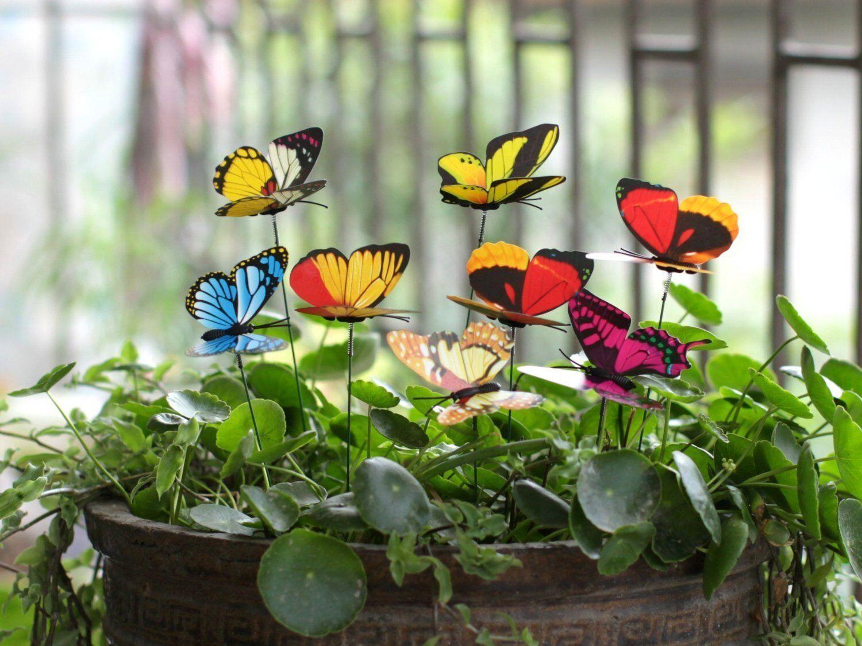 Ginsco 25pcs Butterfly Stakes Outdoor Yard Garden Decor Butterflies ...