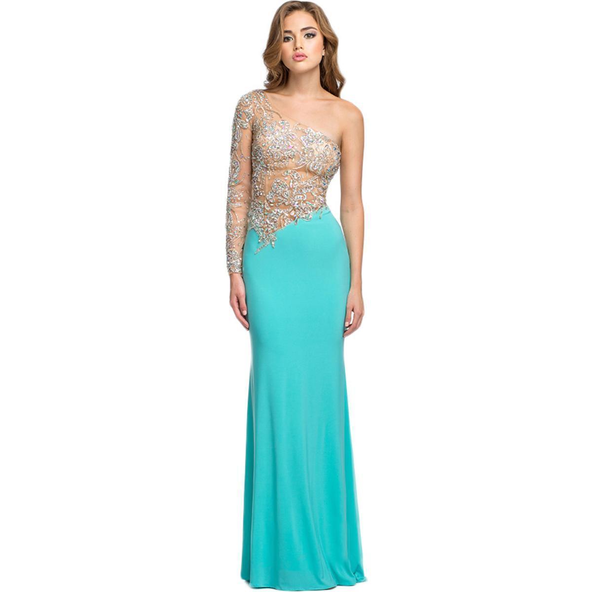 Terani Couture 5954 Blue Embellished One Shoulder Formal Dress ...