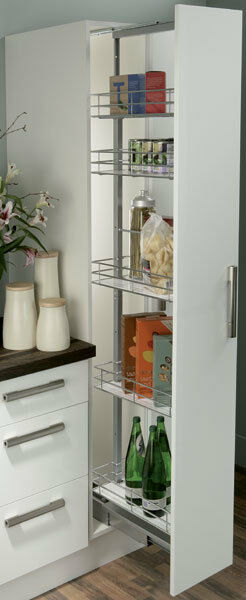 HAFELE SOFT CLOSE 300MM WIDE PULL OUT TALL LARDER UNIT WITH 5 BASKETS