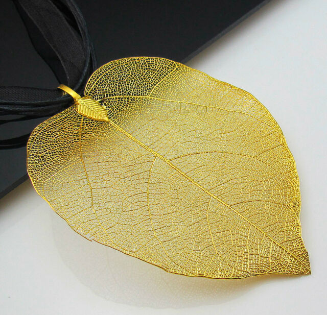 Dipped 18k gold plated real nature filigree leaf pendant organza dipped 18k gold plated real nature filigree leaf pendant organza necklace ebay aloadofball Image collections