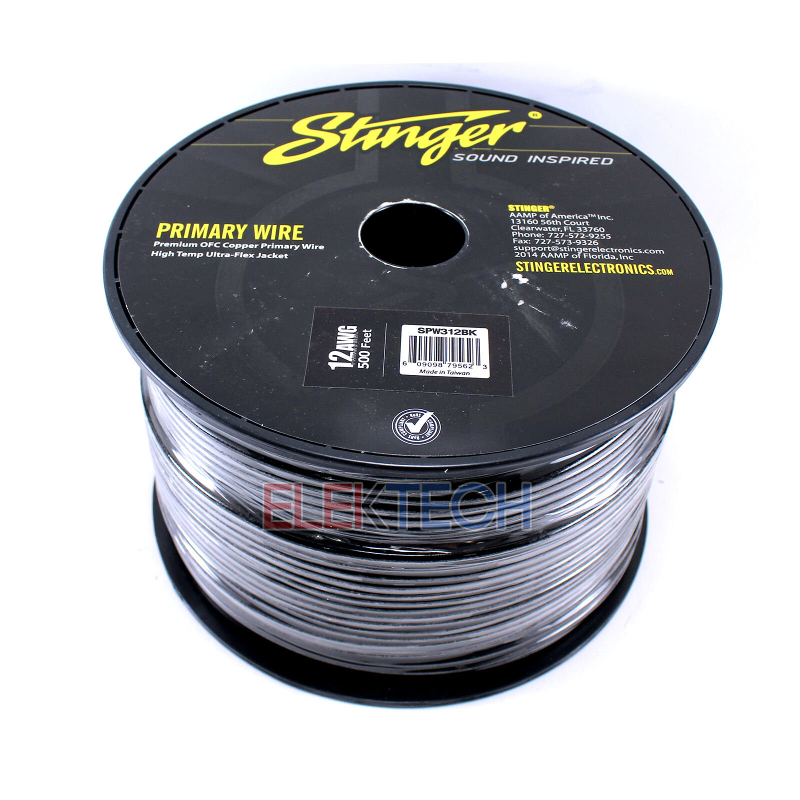 Spw312bk 12 Power Roll Spool Gauge FT Wire 500 Black Audio Cable ...