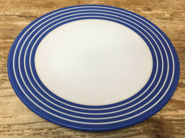 Denby Intro Blue Stripe Cobalt Royal 1 Salad Plate White Bands Langley England & Denby Intro Blue Stripe Cobalt Royal 2 Dinner Plates White Bands ...