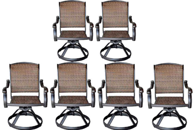 Wicker Swivel Rocker Patio Chairs Set Of 6 Outdoor Cast Aluminum Furniture