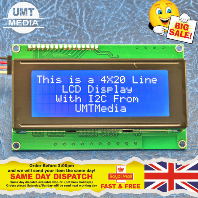 IIC/I2C/TWI módulo LCD de pantalla de caracteres 2004 20X4 para Arduino Azul Serial