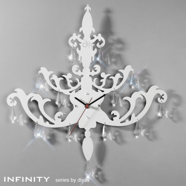 Diyas Infinity IL70116 Clock Chandelier Wall Art   White Metal With Crystal  Drop