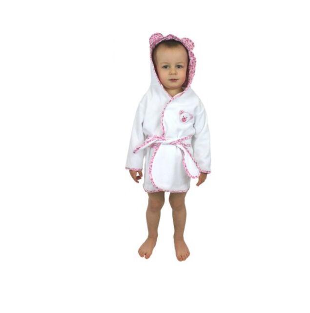 Boys Girls 100 Cotton Bathrobe Dressing Gown Housecoat Printed Trim ...