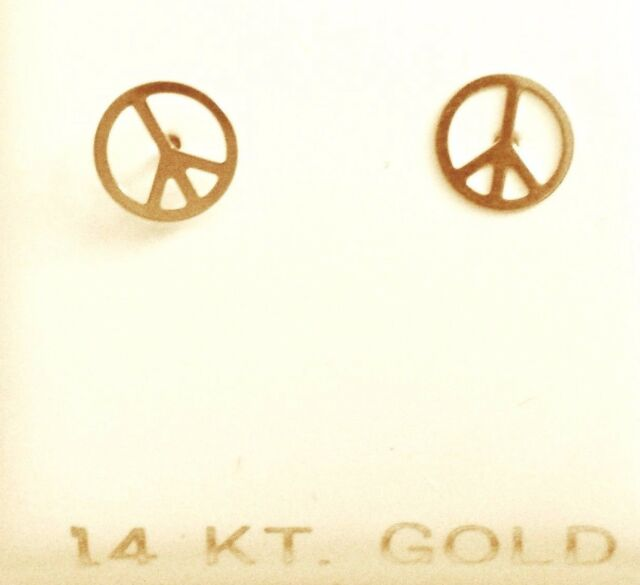 small s earrings sign pure stud yellow peace p gold guaranteed