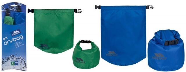 Trespass Pack of 2 DRY BAGS 5L & 10L Waterproof Dry Sacks Lightweight Roll Top