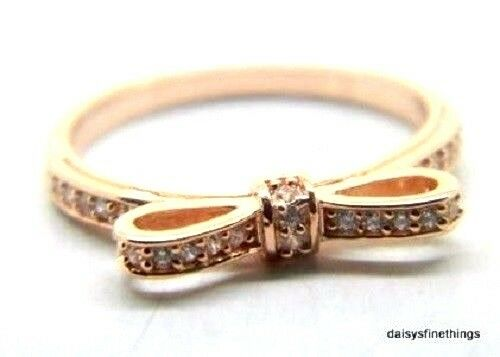 Sparkling Bow 100 Genuine PANDORA Clear CZ Stones rose Gold Plated