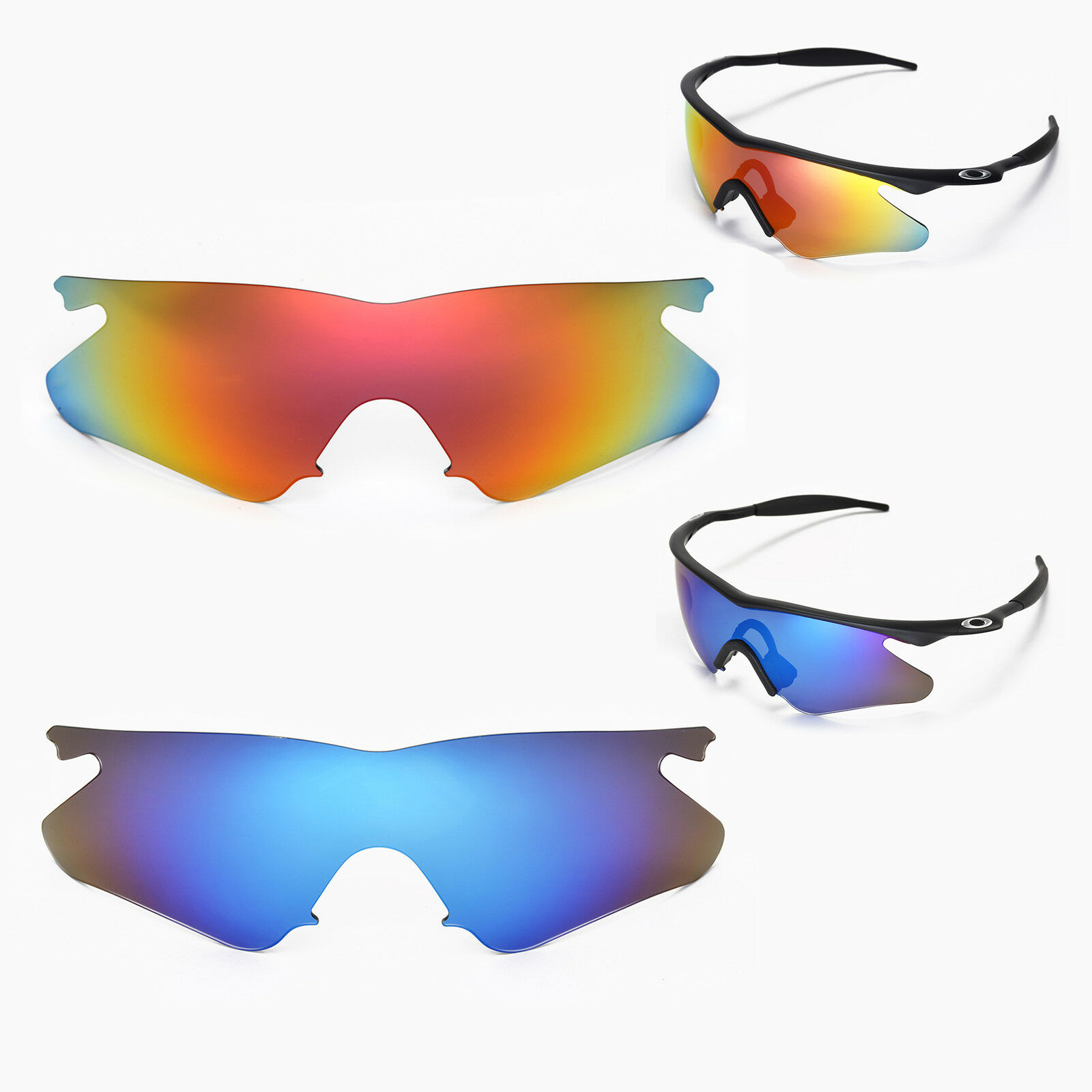 Walleva Polarized Fire Red Ice Blue Lenses for Oakley M Frame Heater ...