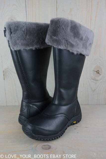 UGG MIKO BLACK LEATHER FUR TRIM WATERPROOF KNEE HIGH WOMENS BOOTS US 7 New