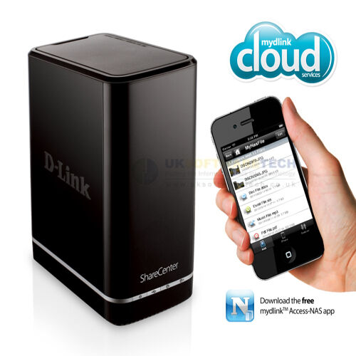 D-Link ShareCenter 0TB 2-Bucht NAS Bay Cloud Netzwerk Speicherung Gehäuse