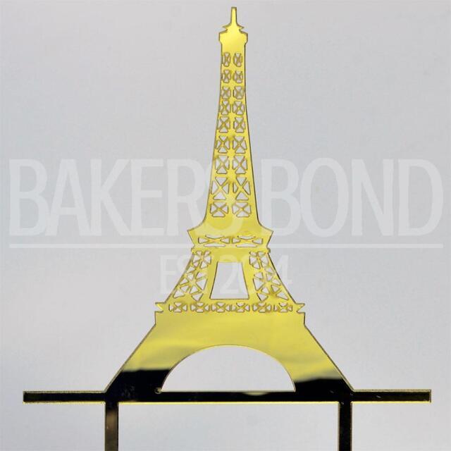 Wedding Cake Topper Mr & Mrs Paris Theme Eiffel Tower Gold Acrylic ...
