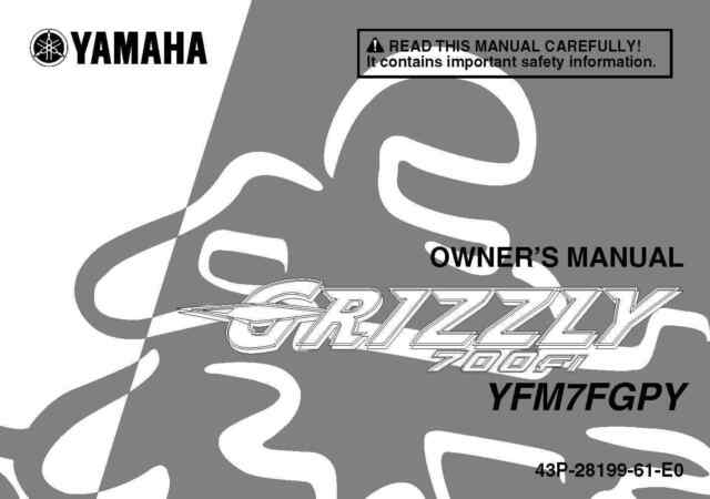 yamaha owners manual book 2009 grizzly 700 fi yfm 7 fgpy ebay rh ebay com 2008 yamaha grizzly 700 fi service manual 2008 yamaha grizzly 700 fi service manual