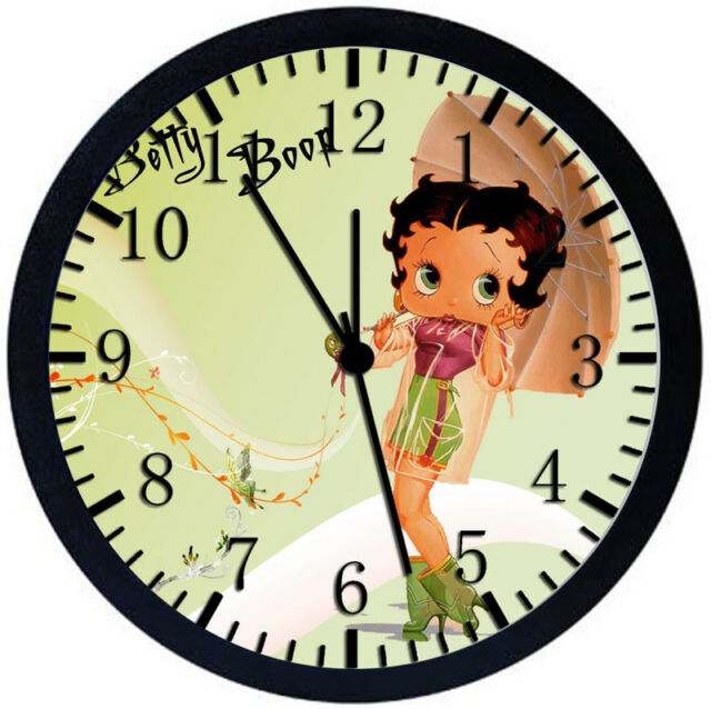 Betty Boop Black Frame Wall Clock for Decor or Gifts W158 | eBay