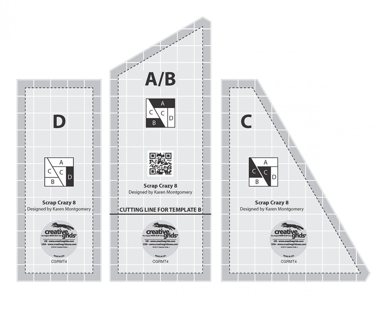 Creative Grids Scrap Crazy Templates Quilt Ruler # CGRMT4 | eBay : quilting rulers and templates uk - Adamdwight.com