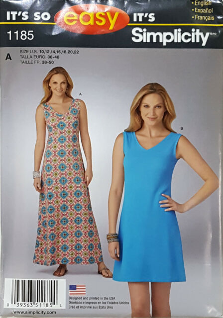 Simplicity 1185 Misses\' Knit Dress in Two Lengths 10 to 22 Sewing ...