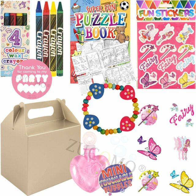 Girls Silver Childrens Wedding Activity Packs Favours Gift Party Bag Kids Boxes