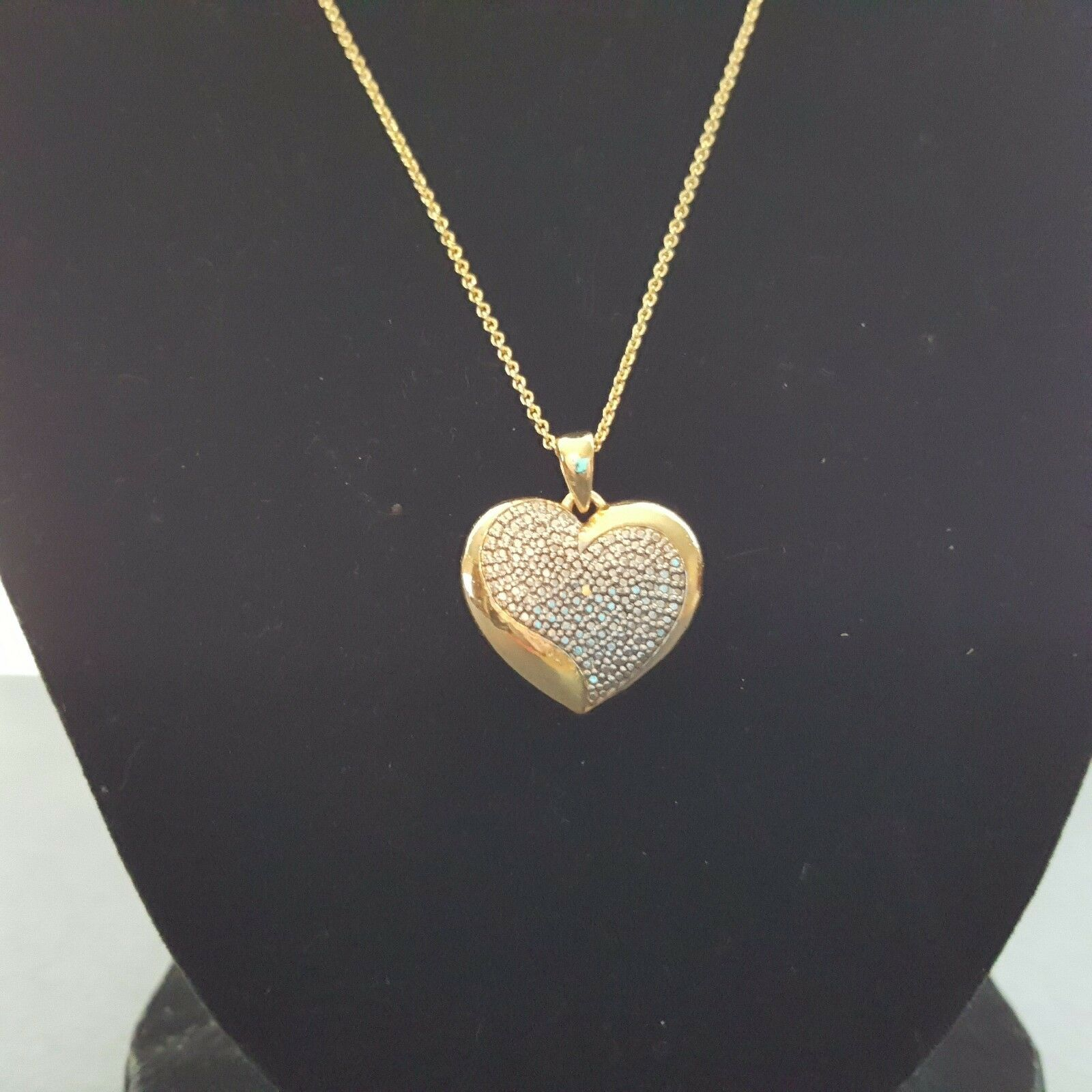 18k gold over brass diamond accent heart pendant 18 chain ebay picture 1 of 8 aloadofball Image collections