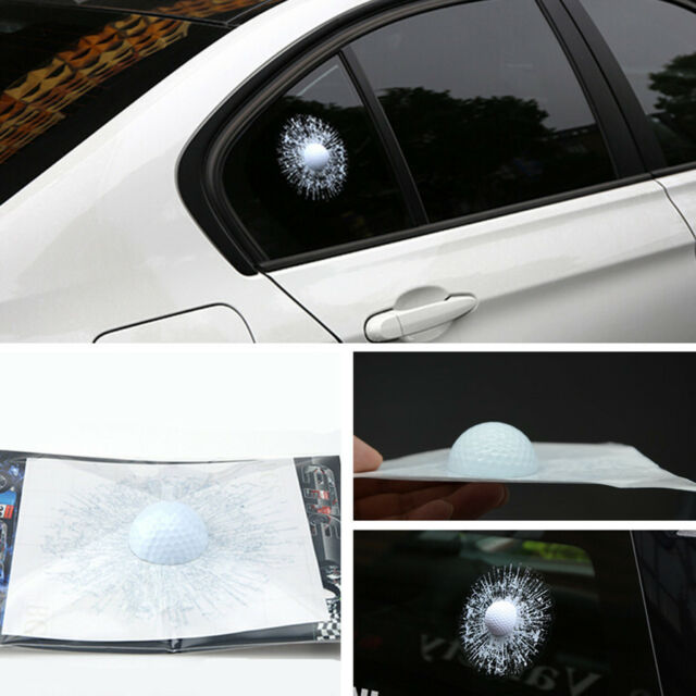 Simulation car body sticker white golf ball hit broken glass window decals badge