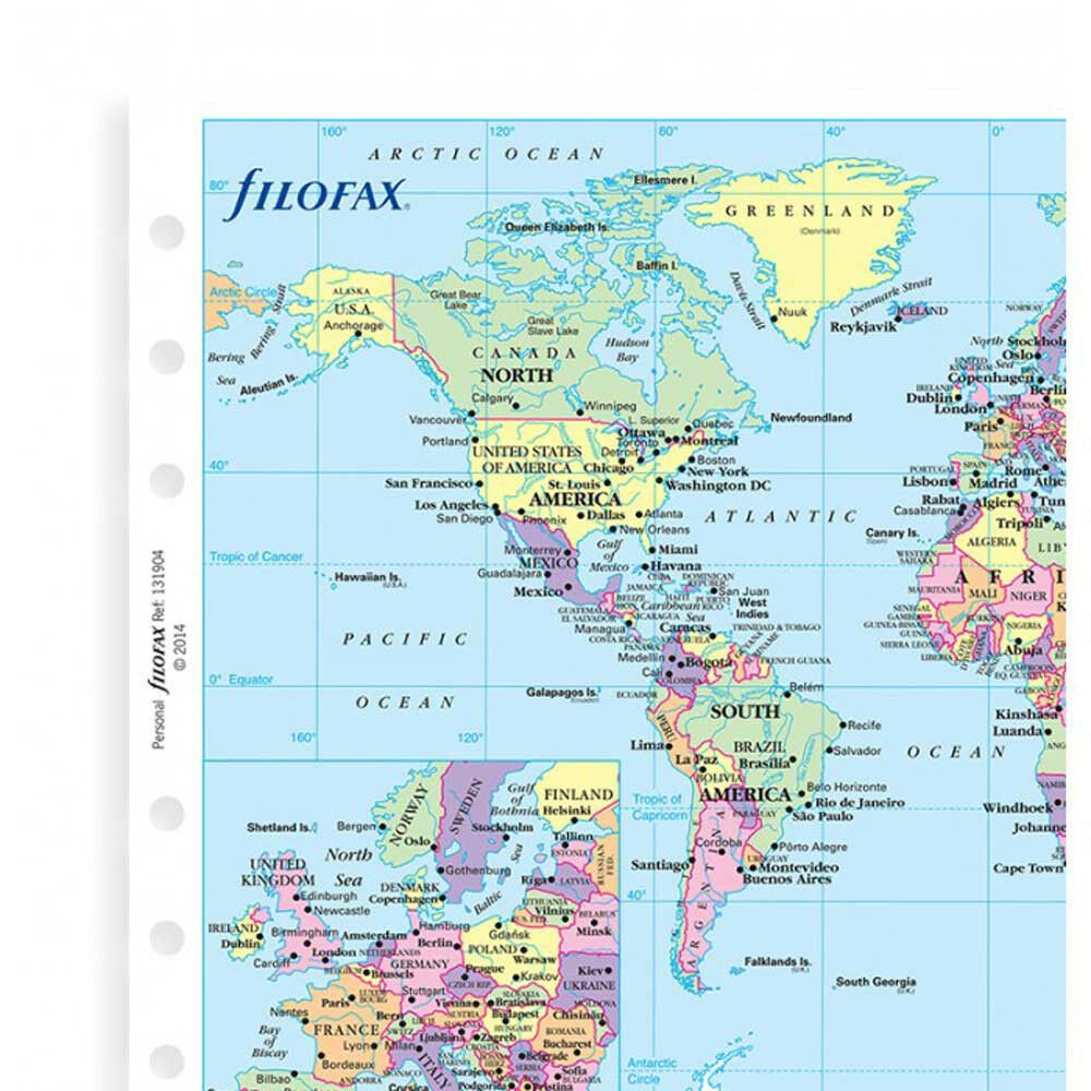 Filofax A Organiser World Map Notepaper Refill Insert Accessory - Caracas on world map