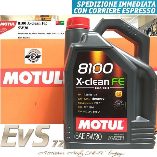 Motul 8100 XClean FE 5W30 C2 C3 Olio Tagliando Motore Auto GM-OPEL dexos2® 5 Lt