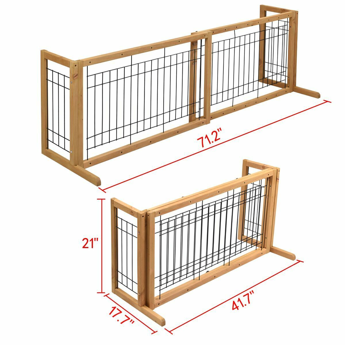 Dog Gate Adjustable Indoor Wood Solid Construction Pet Fence ...