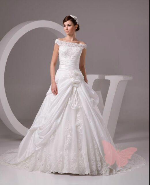Plus Size Long Train Lace Top Wedding Dress BRIAL Gown Size 18 20 22 ...