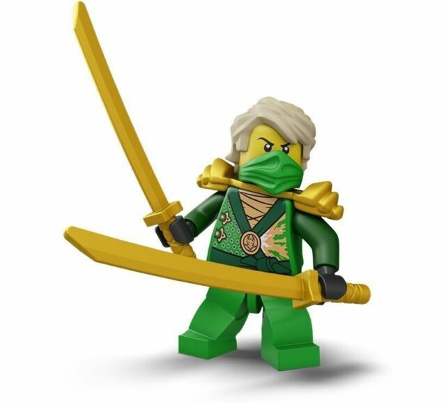 Lego green ninja ninjago lloyd minifigure with 2 gold swords 70722 ebay - Ninjago lloyd gold ...