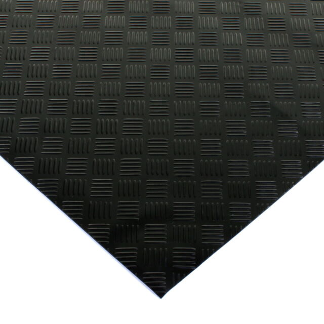 black rubber flooring mat heavy duty floor matting garage van shed checker plate