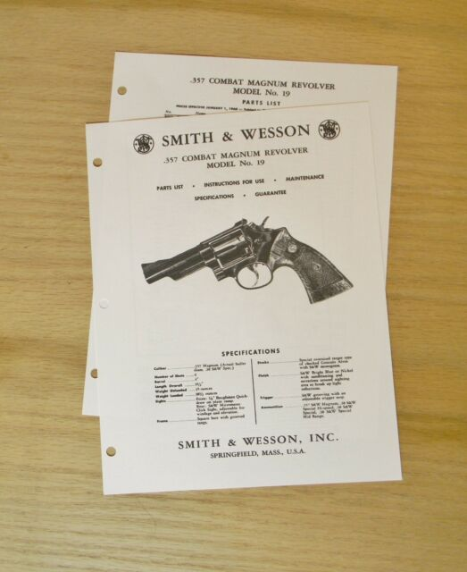 smith wesson 357 cal combat magnum revolver manual model 19 sw 11 rh ebay com Smith and Wesson 357 Model 19 Smith Wesson Model 19 Parts