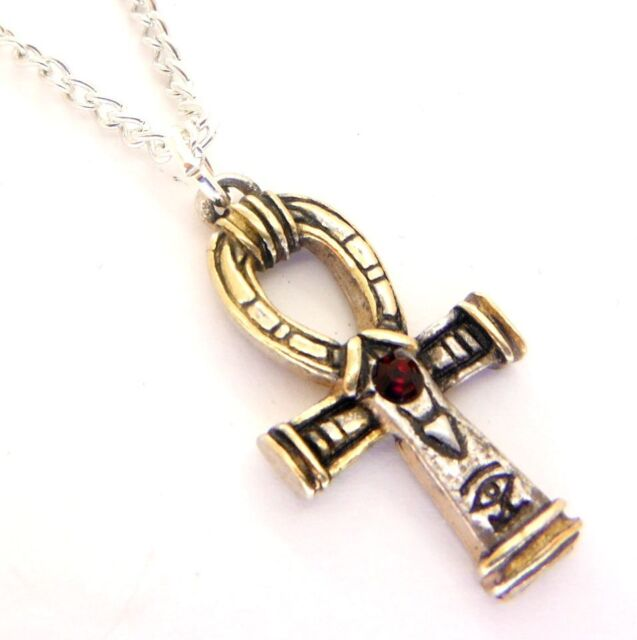 Gold silver red crystal ankh amulet pendant necklace egyptian jewels gold silver red crystal ankh amulet pendant necklace egyptian jewels of atum ra aloadofball Image collections