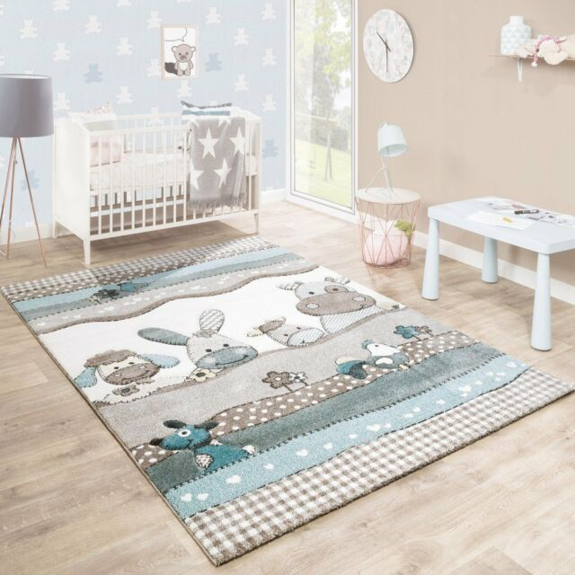 grey nursery rug soft animal farm pastel colour baby bedroom