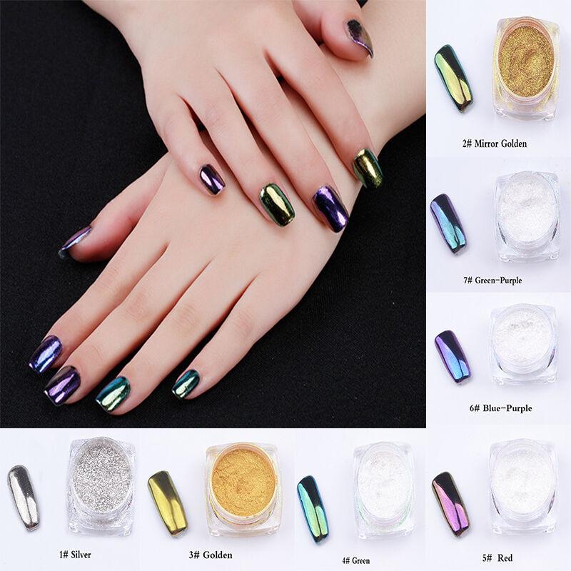 Colors 2g/box Glitter Magic Mirror Chrome Effect Dust Shimmer Nail ...