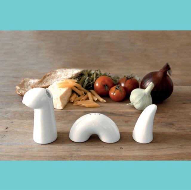 Salt And Pepper Oil Pots Novelty Loch Ness Monster Ceramic Condiment Table Set