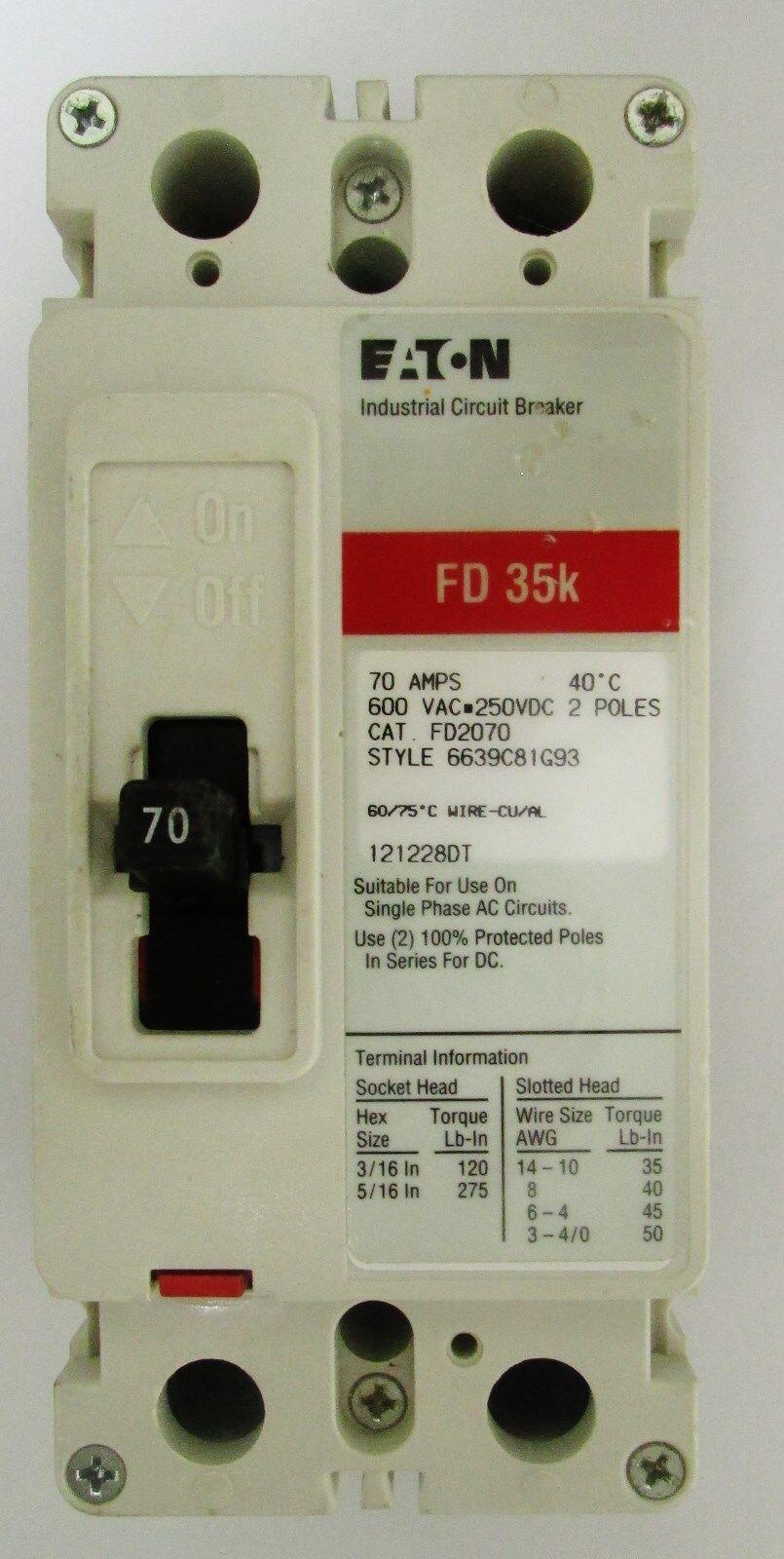 Eaton Cutler Hammer FD2070 2 Pole 70 Amp FD Breaker | eBay
