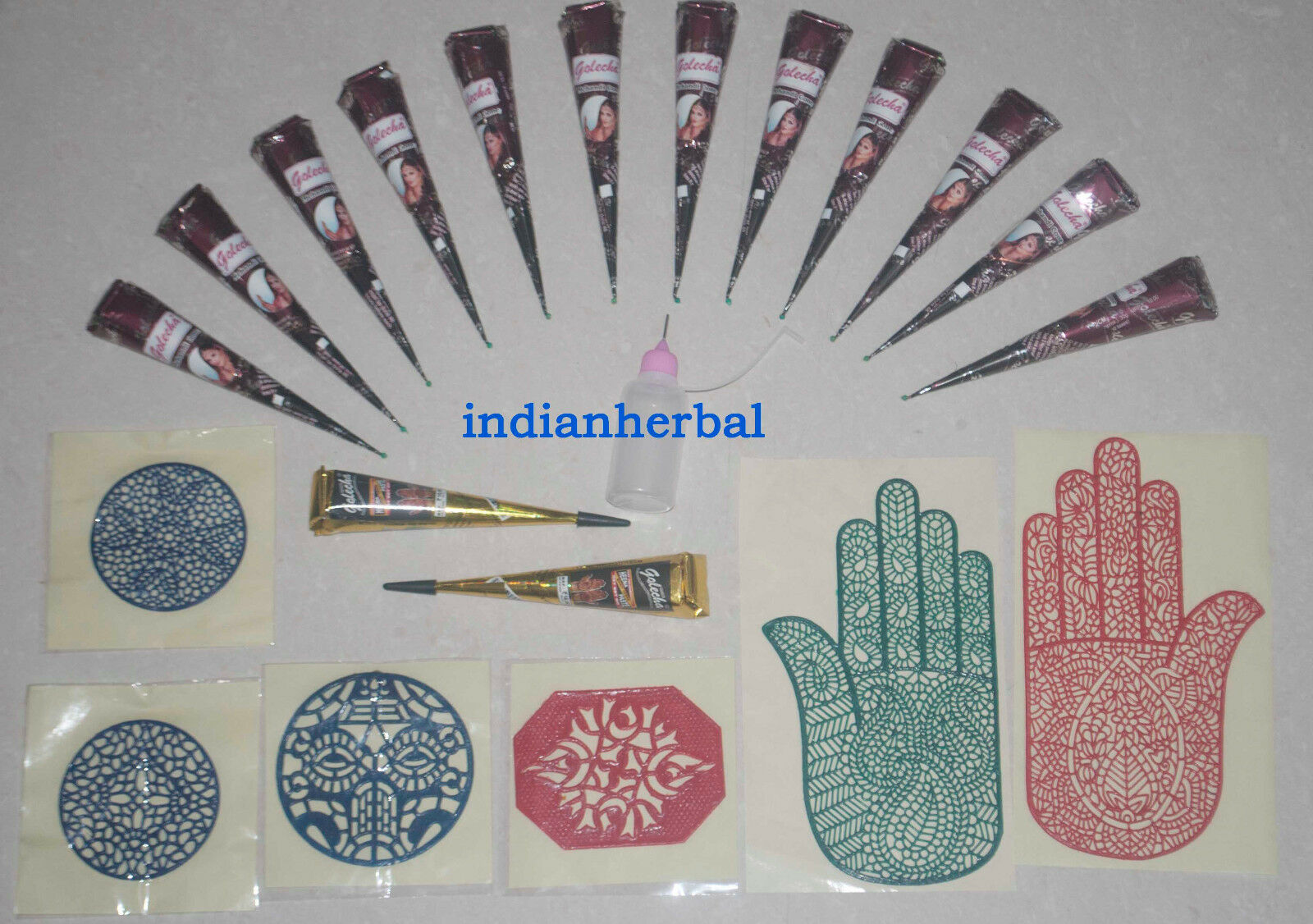 12 Natural 2 Black Henna Mehndi Cone Applicator and Reusable Stencil ...