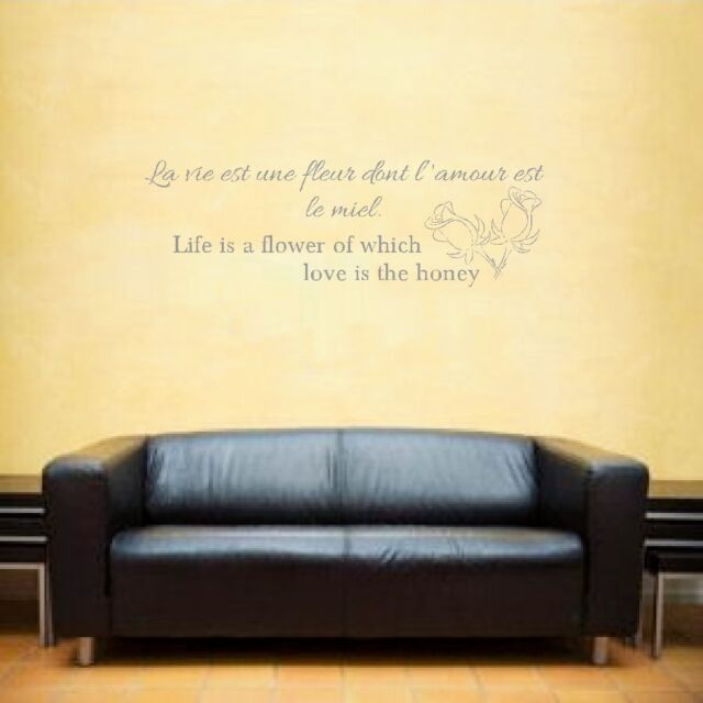 Life Is a Flower French Wall Art Sticker Inspirational Quote Grey | eBay