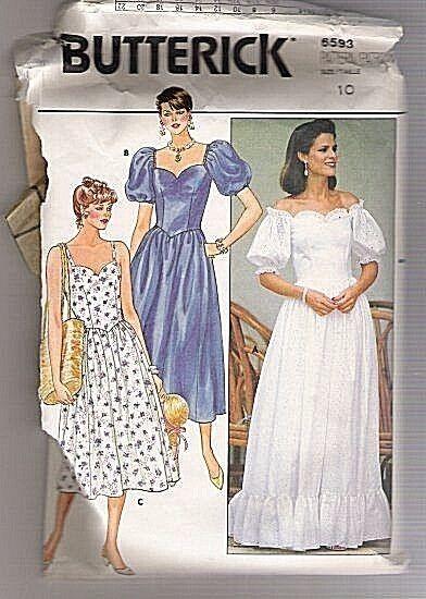Uncut Butterick Pattern 6593 Misses Romantic Boho Dress Bell Sleeves ...