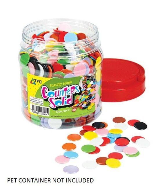 Counters Solid 100 pieces 16mm Bag 10 Colours Maths Games Teacher Resources Kids