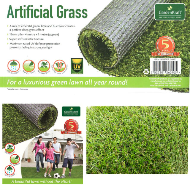 15mm Artificial Lawn Garden Fake Grass Realistic Astro Turf Mat 4m X 1m Roll