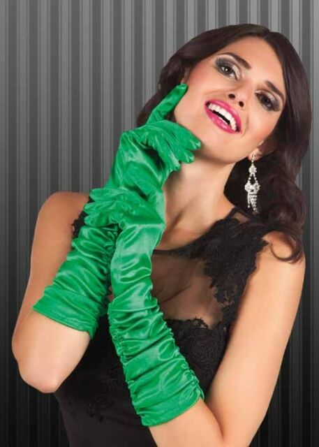 Ladies 20s Green Ruched Satin Flapper Gloves