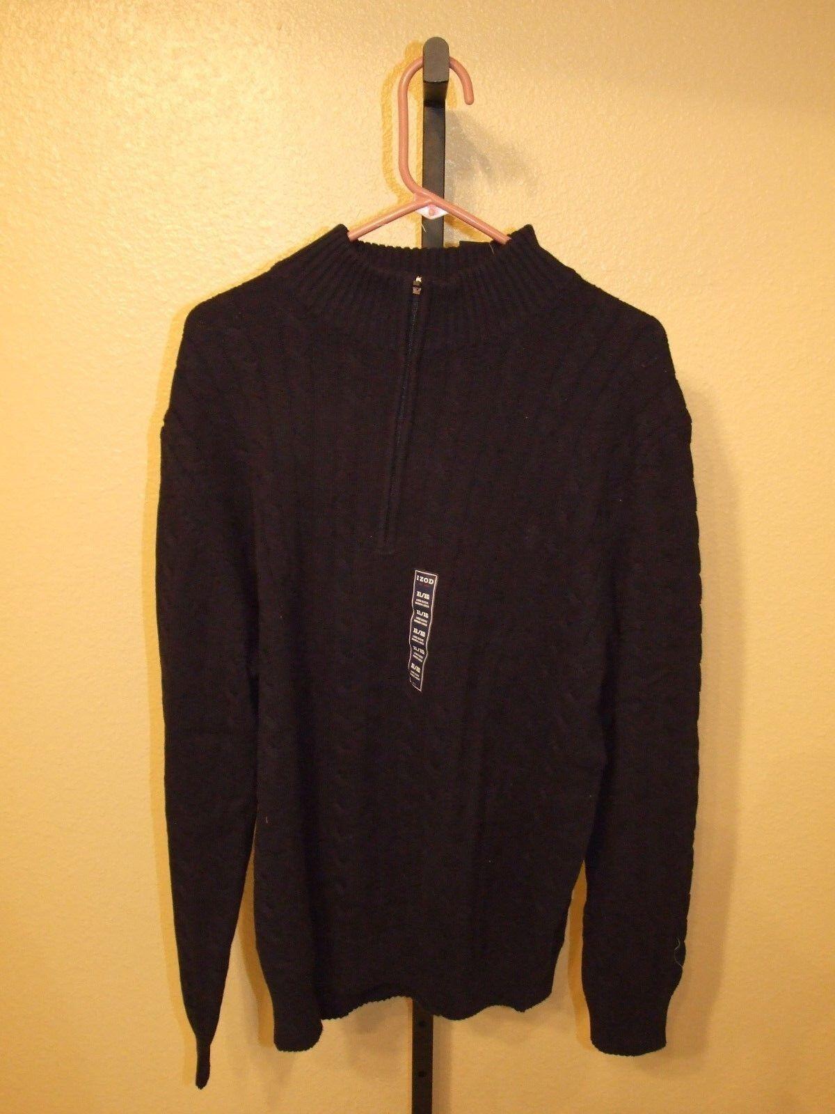 IZOD Mens 1/4 Zip Turtle Neck Sweater Midnight Blue Size M | eBay