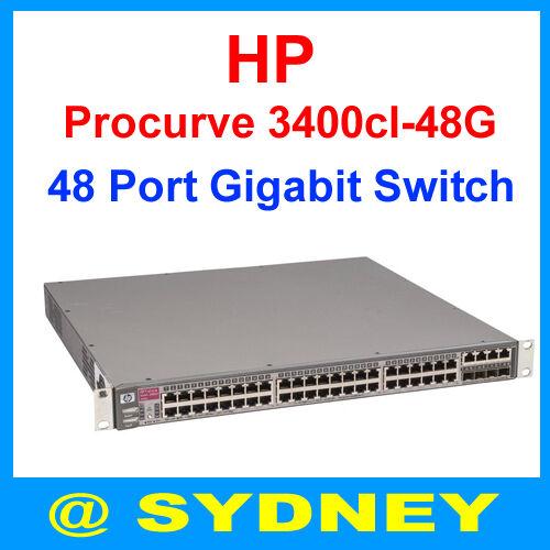 HP Procurve 3400cl-48G J4906A Gigabit Switch Dual 10GbE J8435A + X131 J8436A