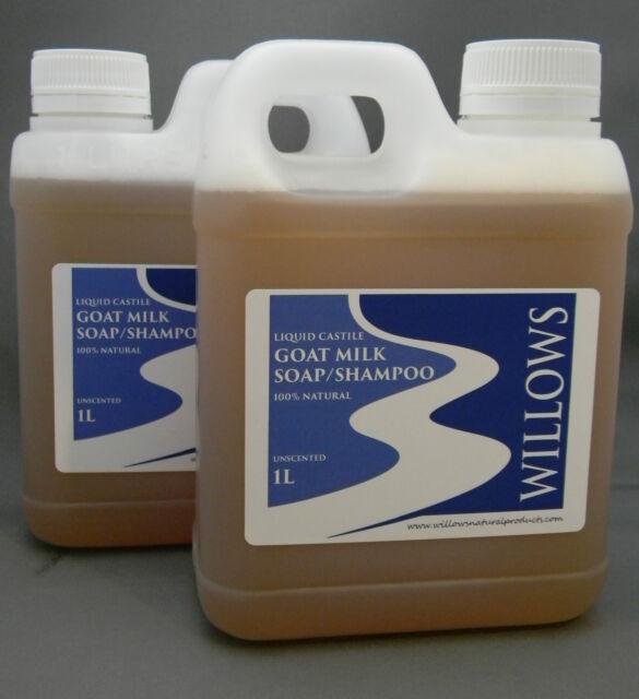 LIQUID CASTILE GOATS MILK SOAP/SHAMPOO 100% NATURAL UNSCENTED 2 x 1L