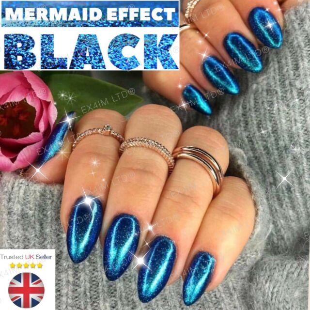 Mermaid Effect Black Nail Art Powder Iridescent Trend Glitter Mirror ...