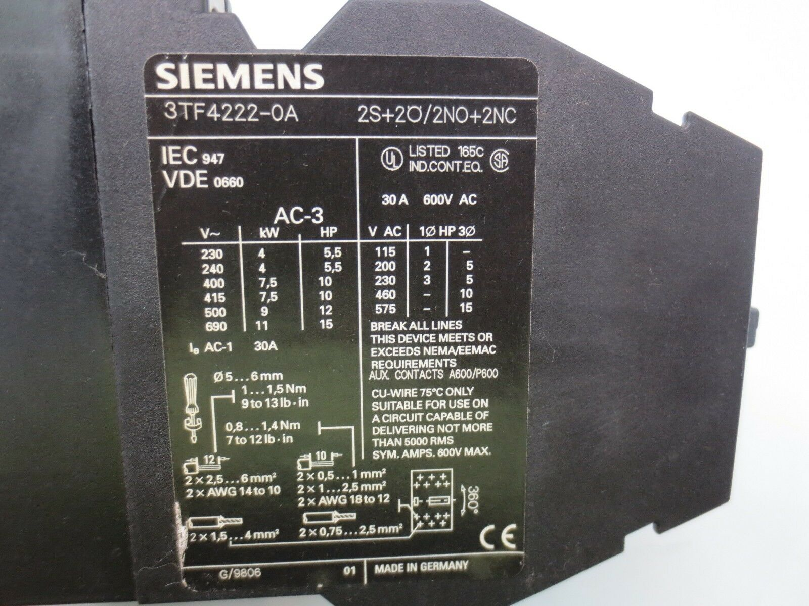 Siemens 3tf4222 0a Contactor 30 Amp 600v